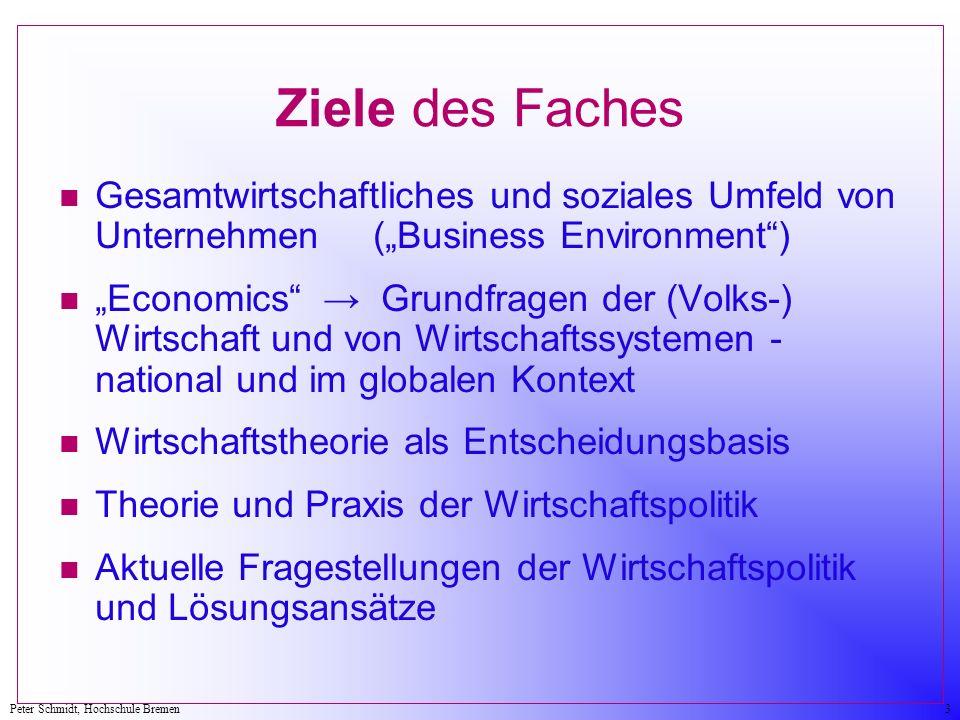 """Ziele des Faches Gesamtwirtschaftliches und soziales Umfeld von Unternehmen (""""Business Environment )"""