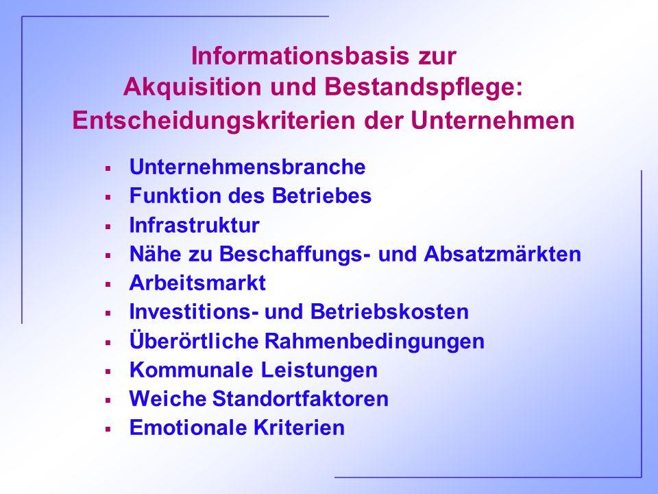 Informationsbasis zur Akquisition und Bestandspflege: Entscheidungskriterien der Unternehmen