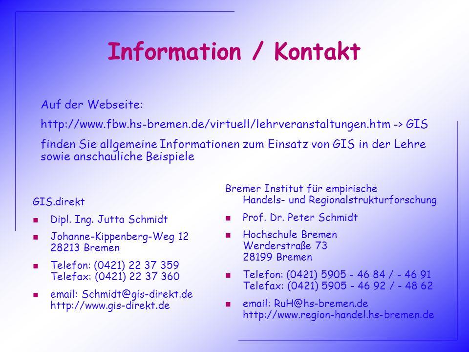 Information / Kontakt Auf der Webseite: