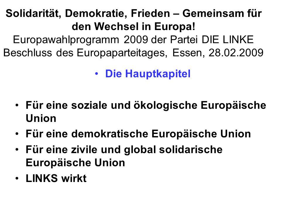 Solidarität, Demokratie, Frieden – Gemeinsam für den Wechsel in Europa