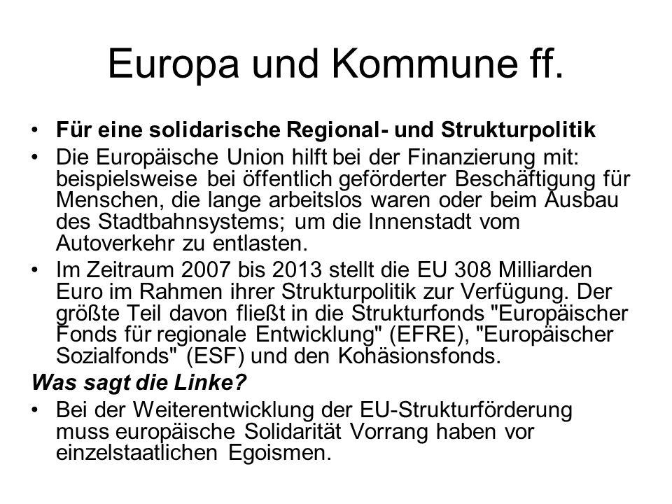 Europa und Kommune ff.Für eine solidarische Regional- und Strukturpolitik.