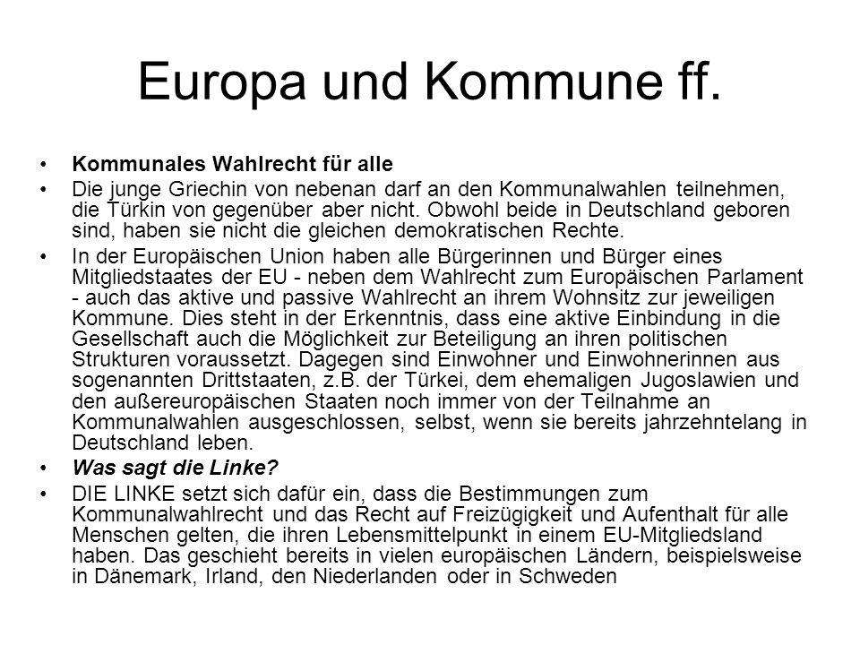 Europa und Kommune ff. Kommunales Wahlrecht für alle