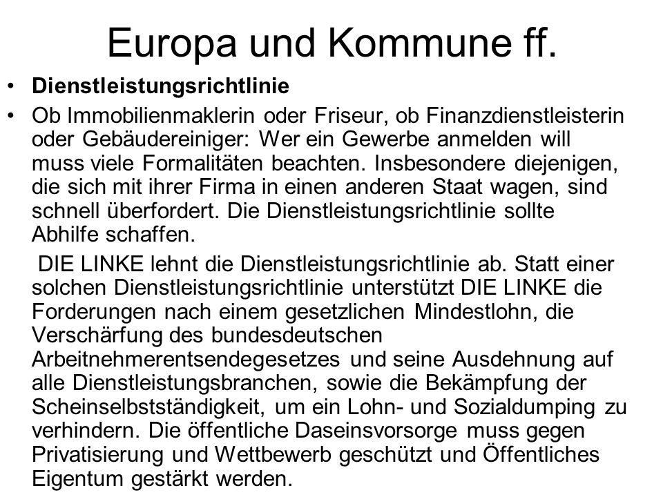 Europa und Kommune ff. Dienstleistungsrichtlinie
