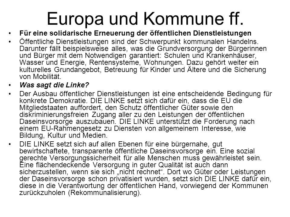 Europa und Kommune ff. Für eine solidarische Erneuerung der öffentlichen Dienstleistungen.