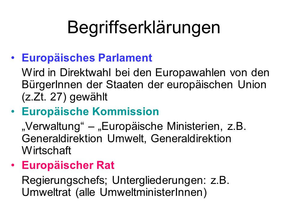 Begriffserklärungen Europäisches Parlament