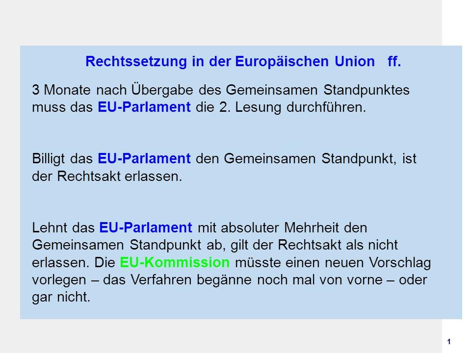 Rechtssetzung in der Europäischen Union ff.