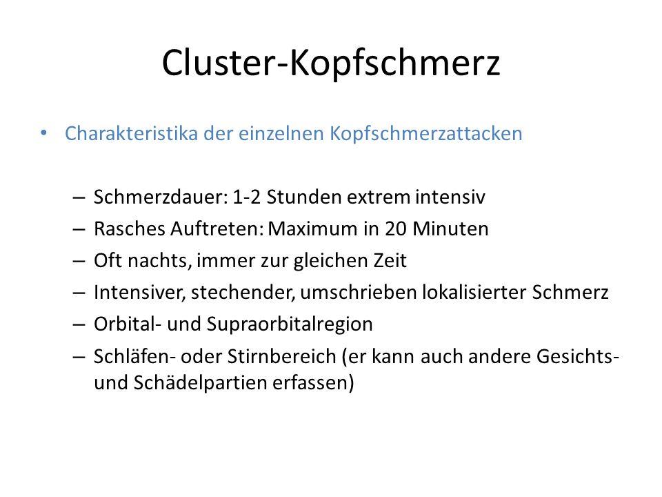Cluster-Kopfschmerz Charakteristika der einzelnen Kopfschmerzattacken
