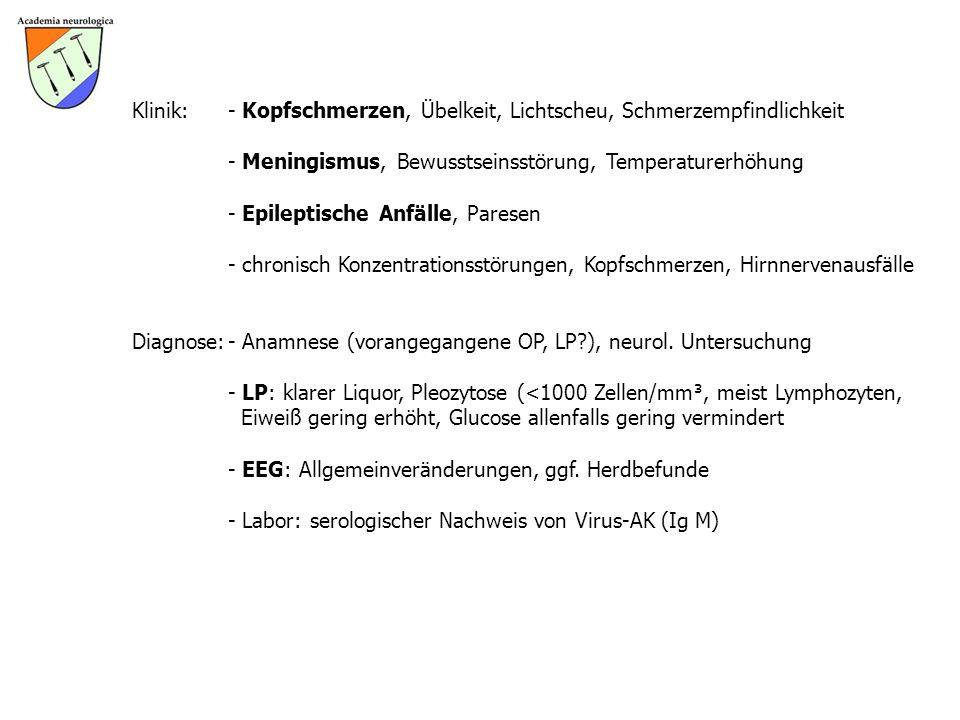 Klinik: - Kopfschmerzen, Übelkeit, Lichtscheu, Schmerzempfindlichkeit