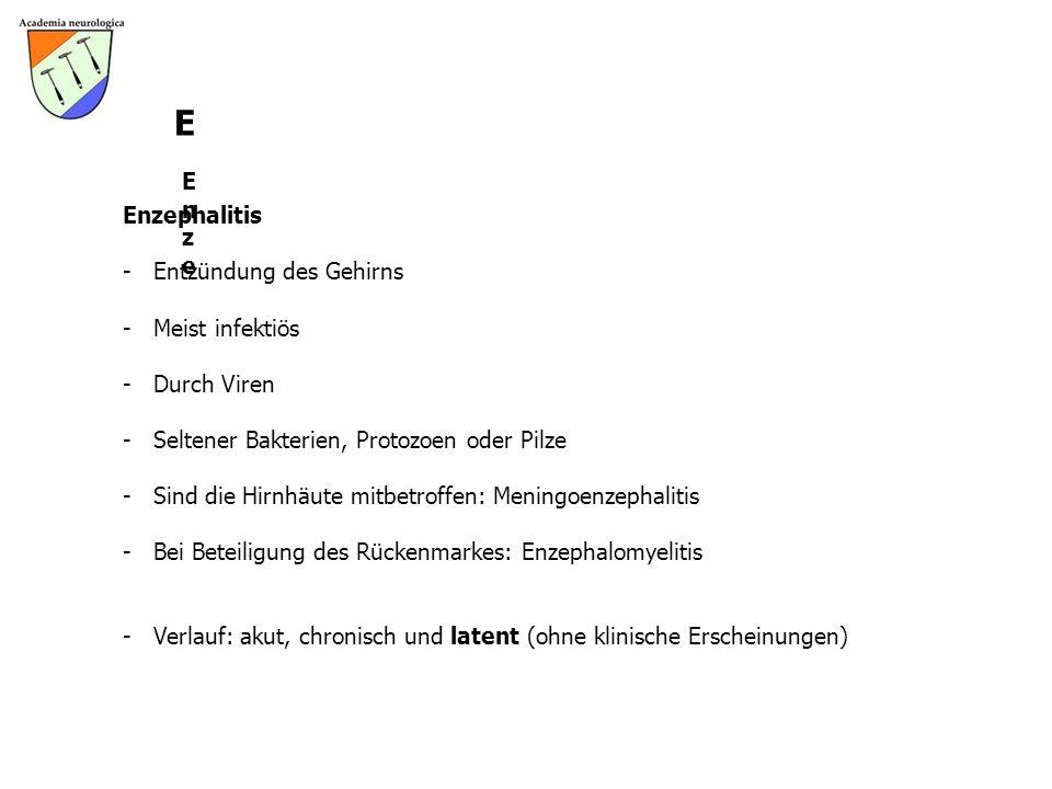 E Enze Enzephalitis Entzündung des Gehirns Meist infektiös Durch Viren