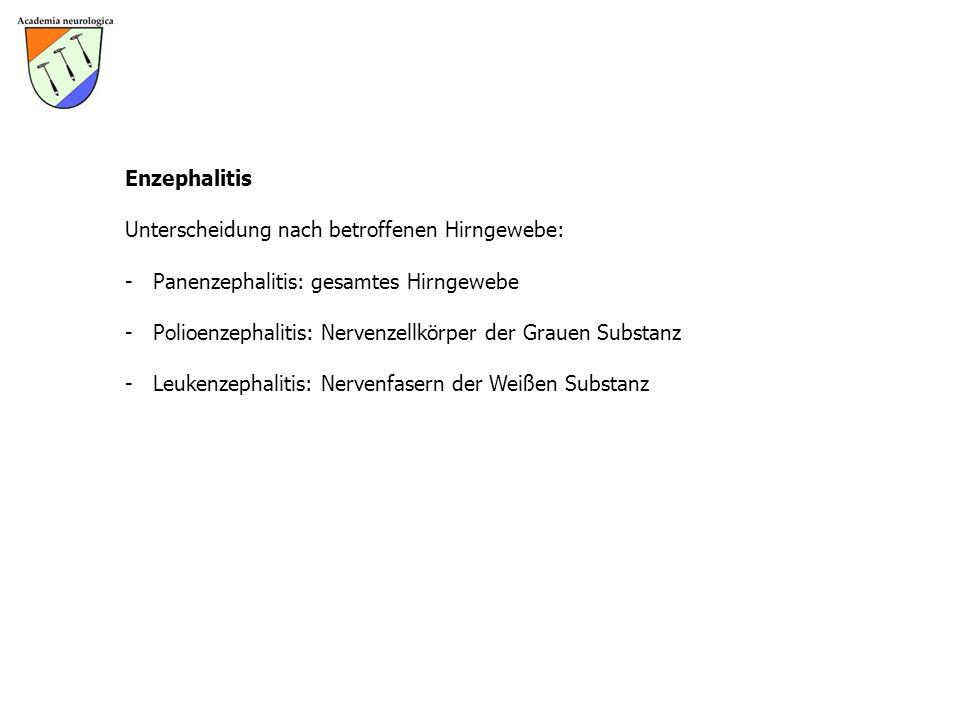 Enzephalitis Unterscheidung nach betroffenen Hirngewebe: Panenzephalitis: gesamtes Hirngewebe.