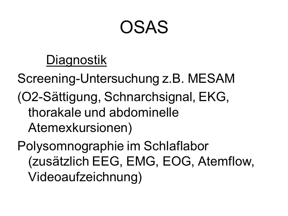OSAS Diagnostik Screening-Untersuchung z.B. MESAM