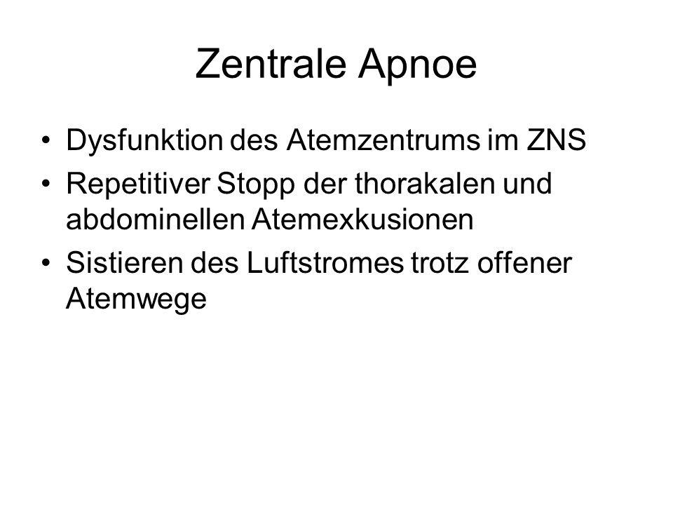 Zentrale Apnoe Dysfunktion des Atemzentrums im ZNS