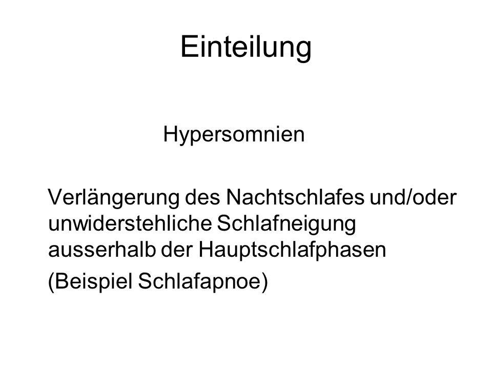 Einteilung Hypersomnien