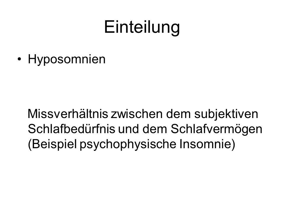 Einteilung Hyposomnien