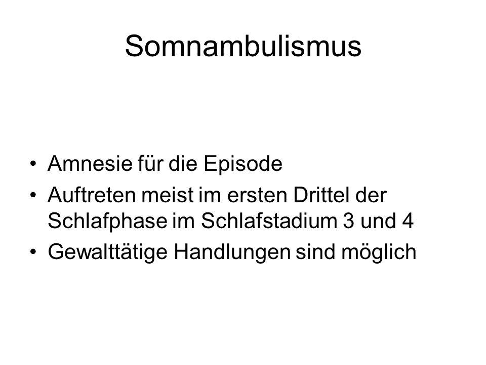 Somnambulismus Amnesie für die Episode