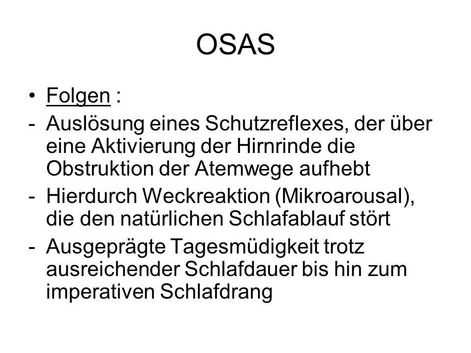 OSASFolgen : Auslösung eines Schutzreflexes, der über eine Aktivierung der Hirnrinde die Obstruktion der Atemwege aufhebt.