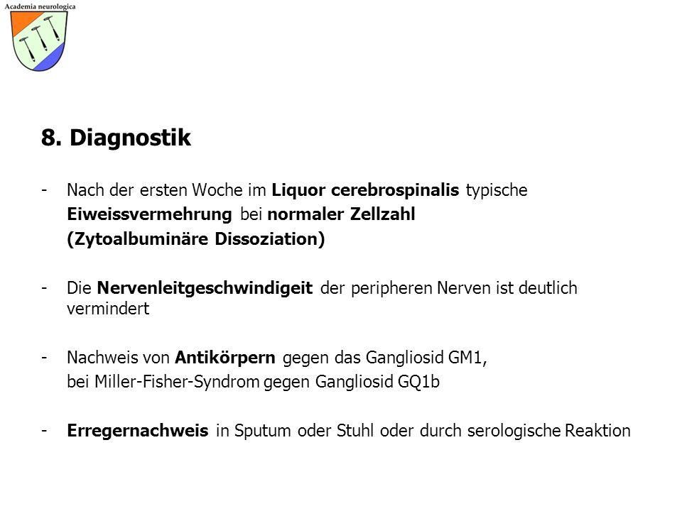 8. Diagnostik Nach der ersten Woche im Liquor cerebrospinalis typische