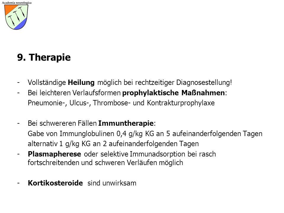 9. Therapie Vollständige Heilung möglich bei rechtzeitiger Diagnosestellung! Bei leichteren Verlaufsformen prophylaktische Maßnahmen: