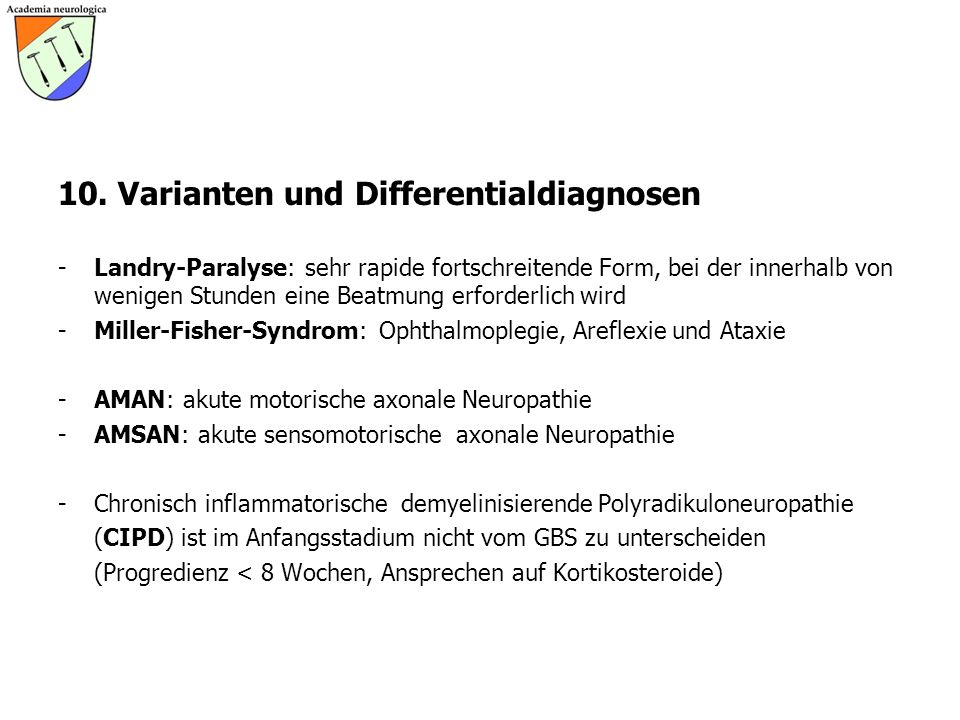 10. Varianten und Differentialdiagnosen