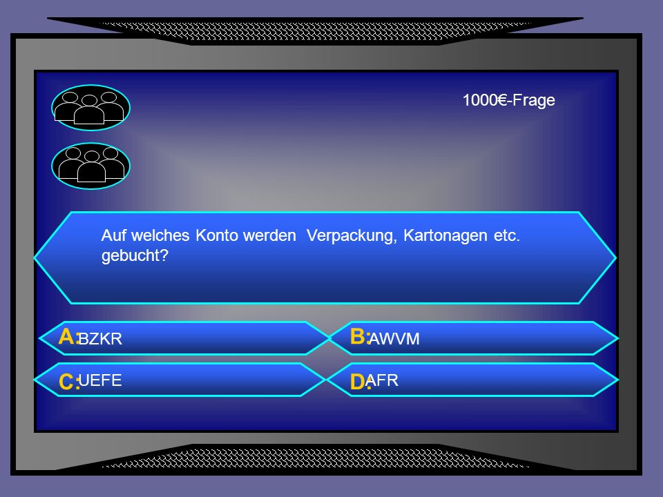 1000€-Frage Auf welches Konto werden Verpackung, Kartonagen etc. gebucht BZKR. A: AWVM. B: UEFE.