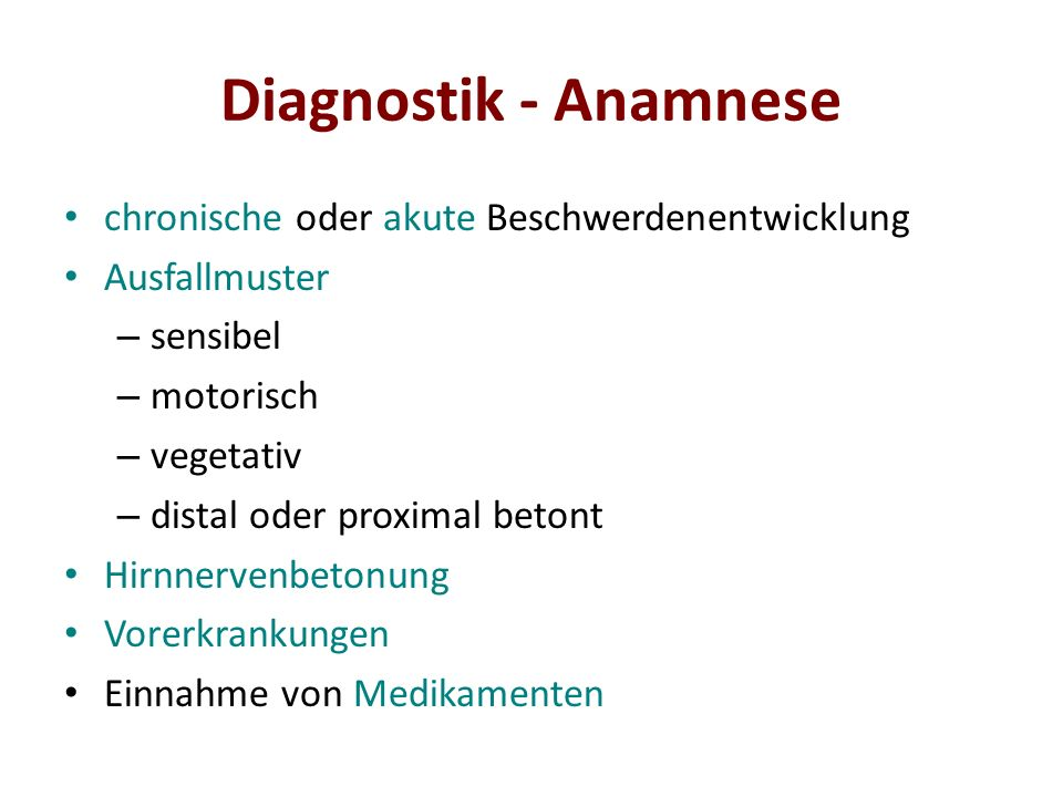 Diagnostik - Anamnese chronische oder akute Beschwerdenentwicklung
