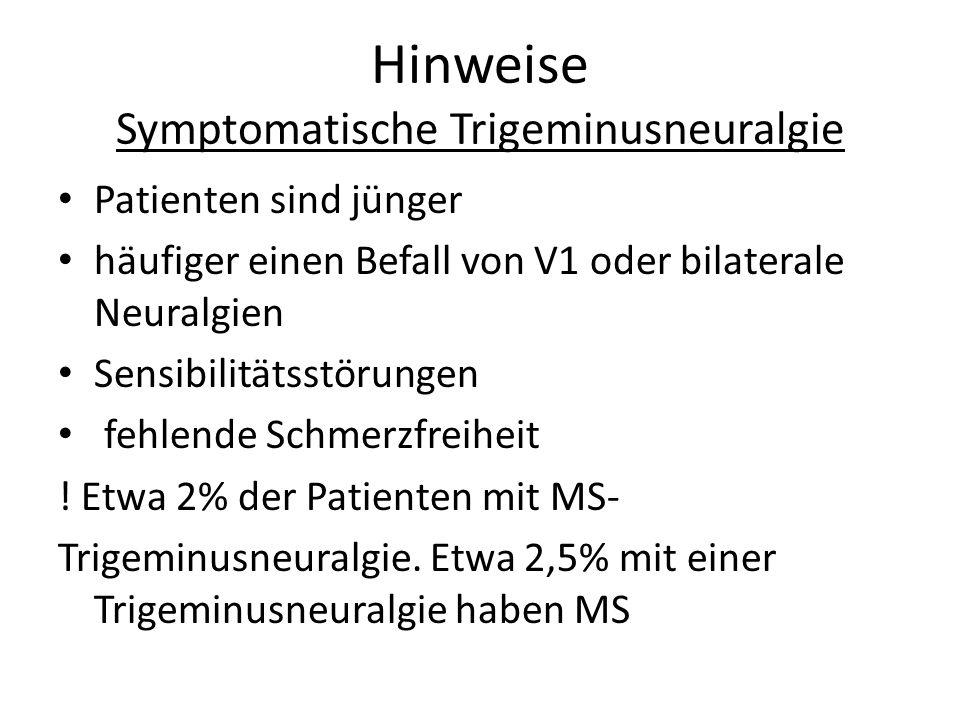Hinweise Symptomatische Trigeminusneuralgie