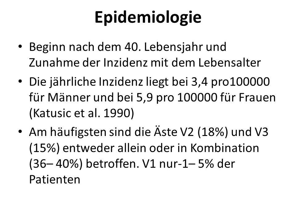 Epidemiologie Beginn nach dem 40. Lebensjahr und Zunahme der Inzidenz mit dem Lebensalter.
