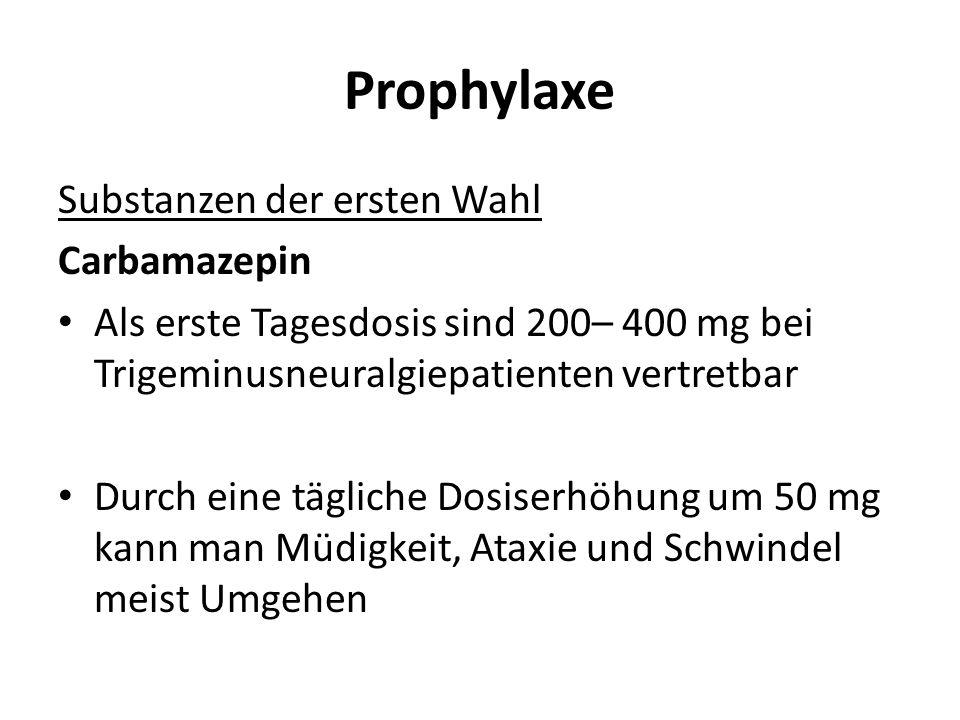 Prophylaxe Substanzen der ersten Wahl Carbamazepin