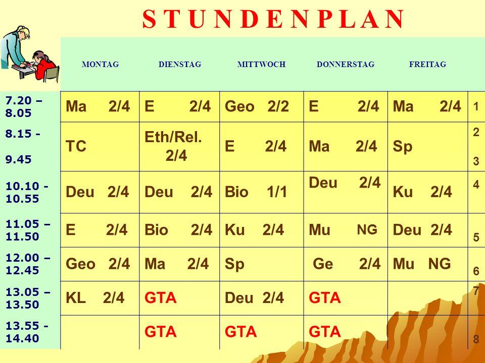 S T U N D E N P L A N Ma 2/4 E 2/4 Geo 2/2 E 2/4 Ma 2/4 TC Eth/Rel.