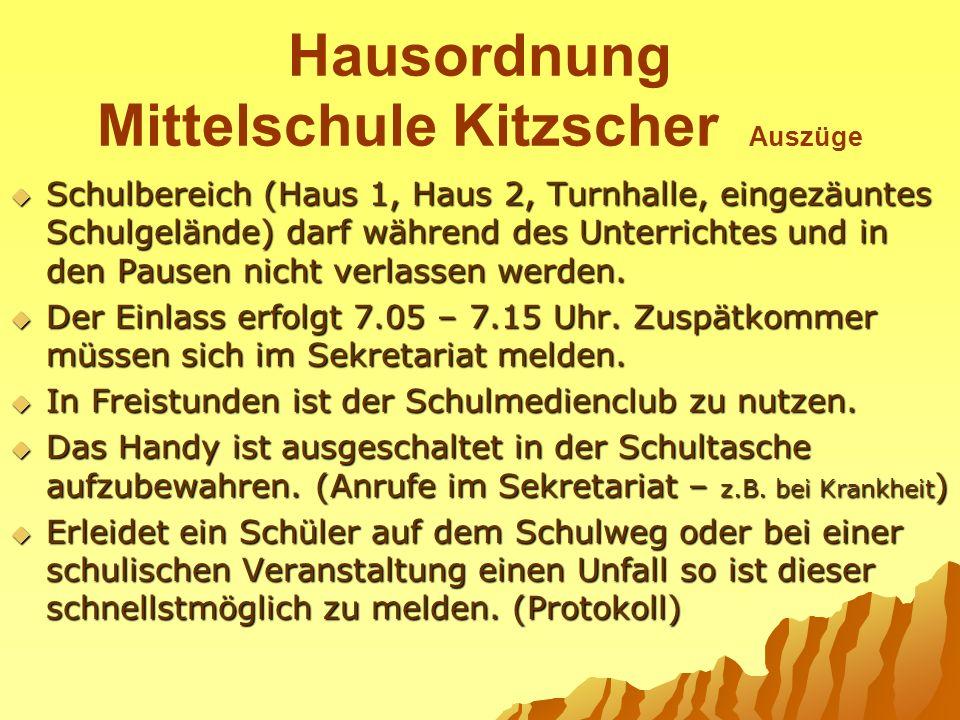 Hausordnung Mittelschule Kitzscher Auszüge