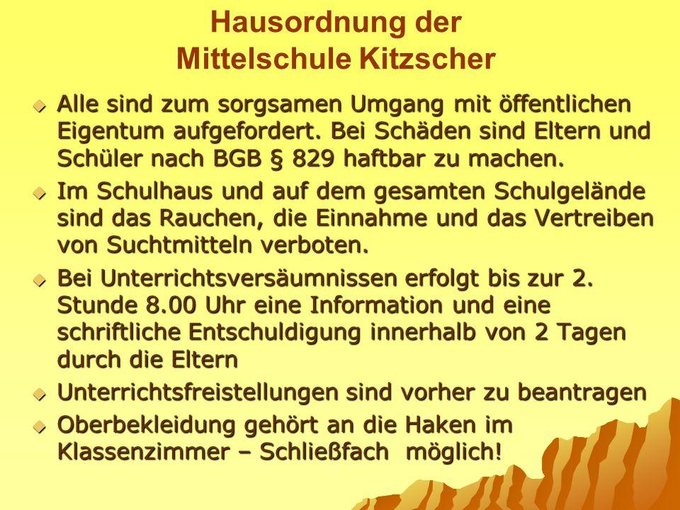 Hausordnung der Mittelschule Kitzscher