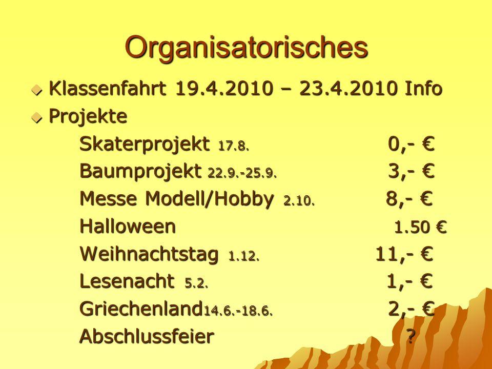 Organisatorisches Klassenfahrt 19.4.2010 – 23.4.2010 Info Projekte