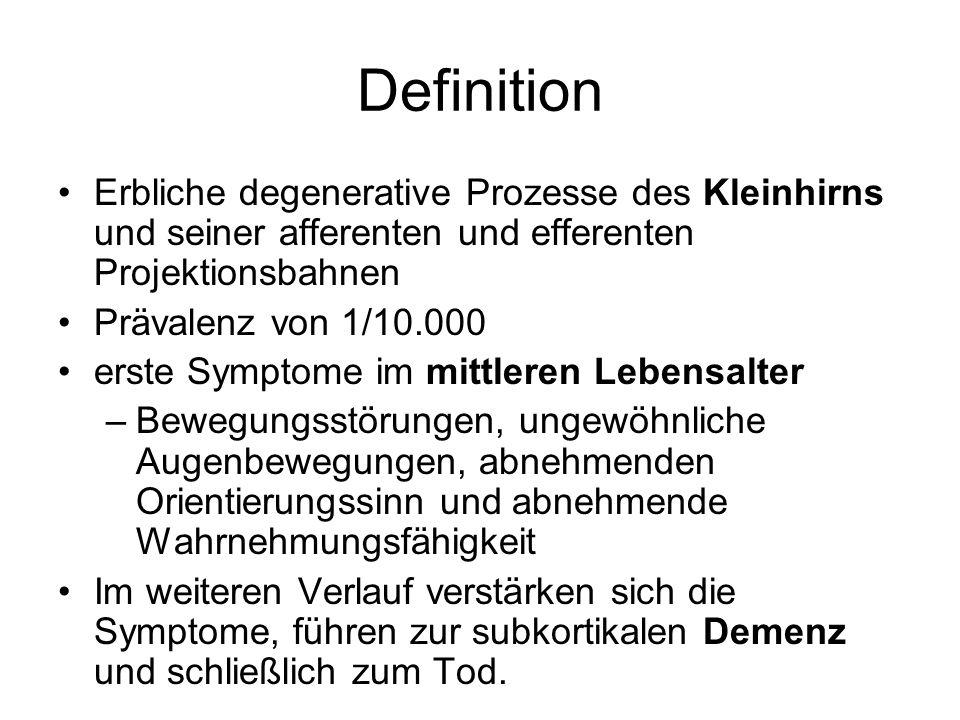 Definition Erbliche degenerative Prozesse des Kleinhirns und seiner afferenten und efferenten Projektionsbahnen.