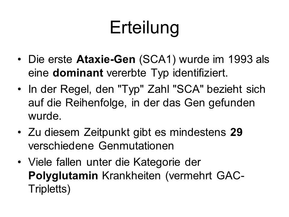 Erteilung Die erste Ataxie-Gen (SCA1) wurde im 1993 als eine dominant vererbte Typ identifiziert.