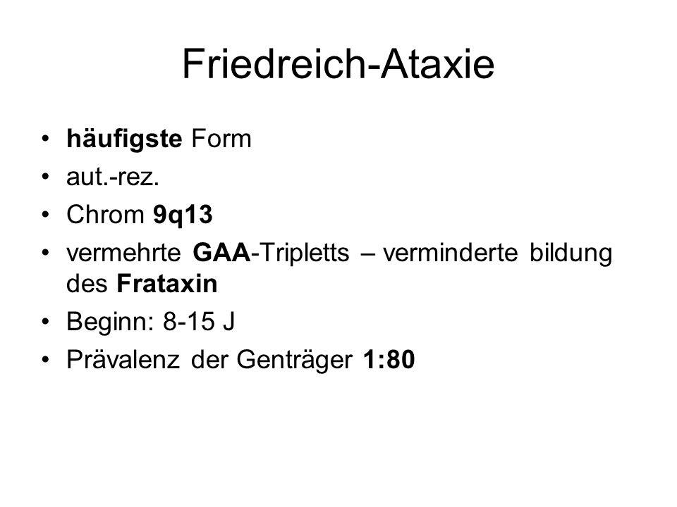 Friedreich-Ataxie häufigste Form aut.-rez. Chrom 9q13