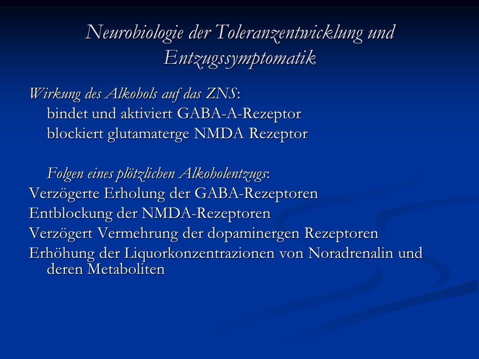 Neurobiologie der Toleranzentwicklung und Entzugssymptomatik
