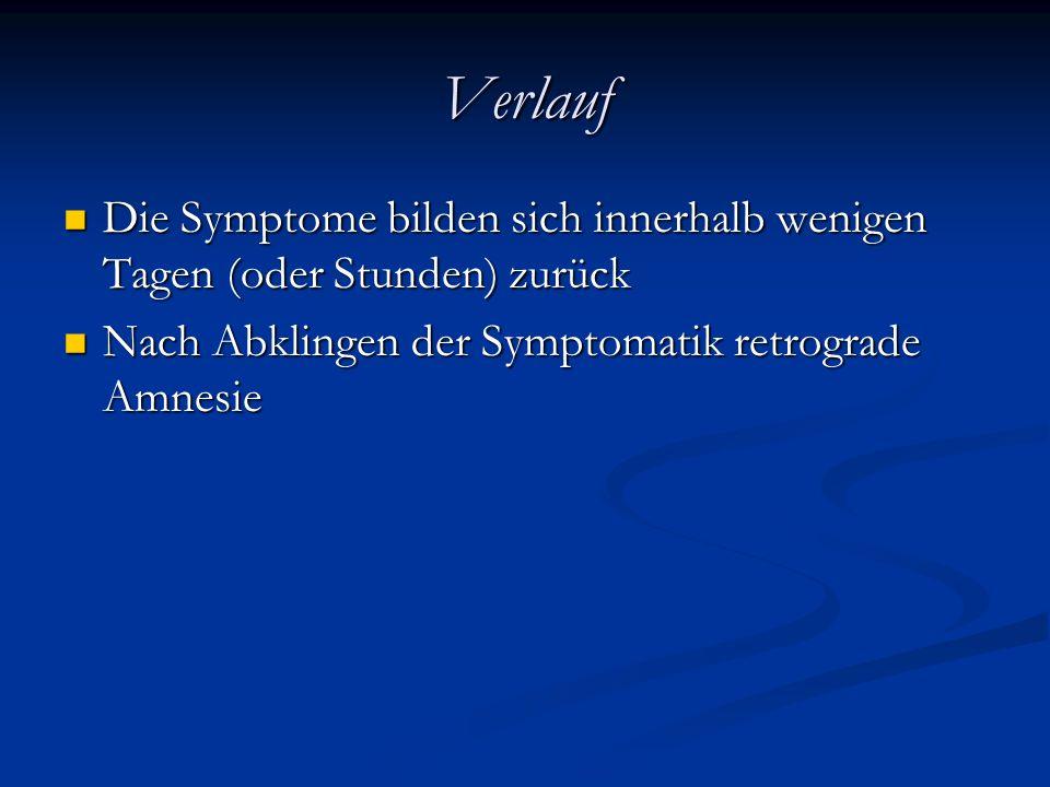 Verlauf Die Symptome bilden sich innerhalb wenigen Tagen (oder Stunden) zurück.