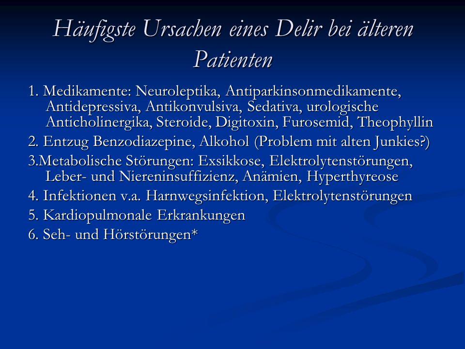 Häufigste Ursachen eines Delir bei älteren Patienten