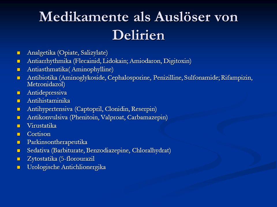 Medikamente als Auslöser von Delirien