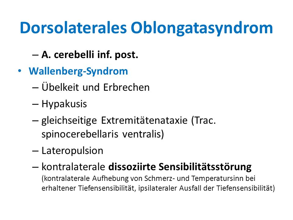 Dorsolaterales Oblongatasyndrom