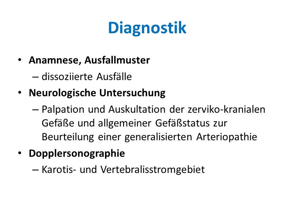 Diagnostik Anamnese, Ausfallmuster dissoziierte Ausfälle