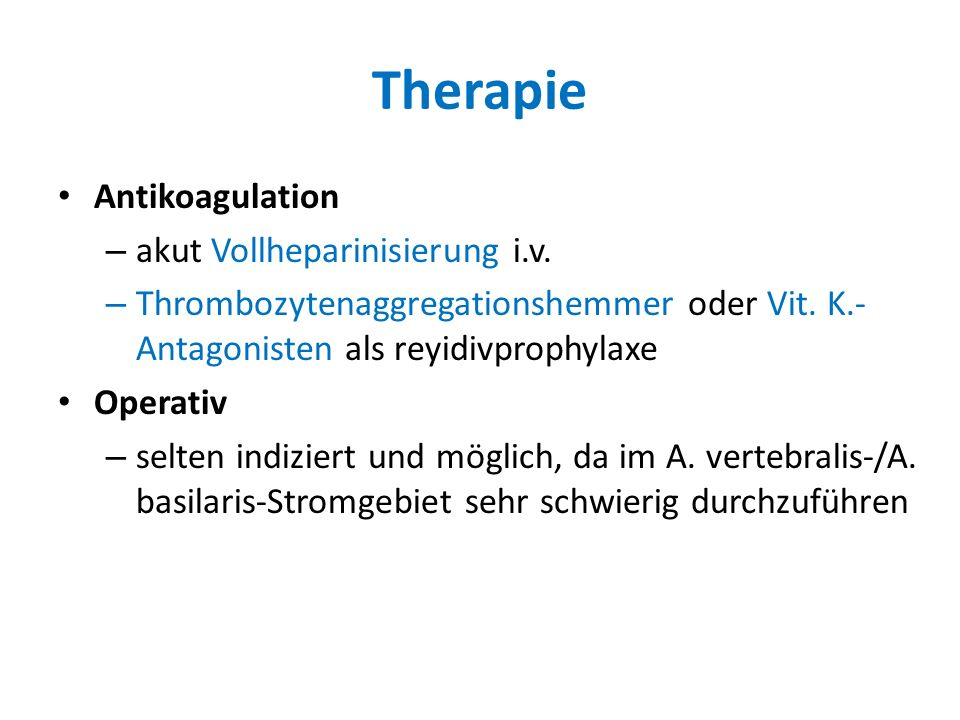 Therapie Antikoagulation akut Vollheparinisierung i.v.