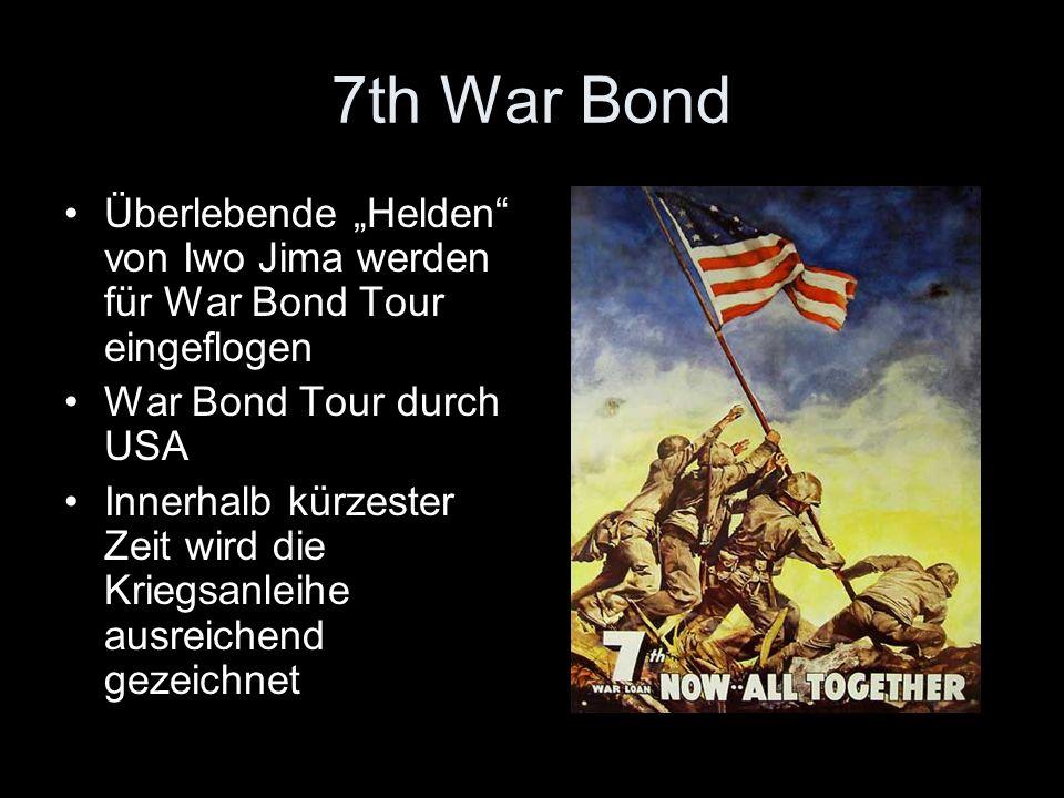 """7th War Bond Überlebende """"Helden von Iwo Jima werden für War Bond Tour eingeflogen. War Bond Tour durch USA."""