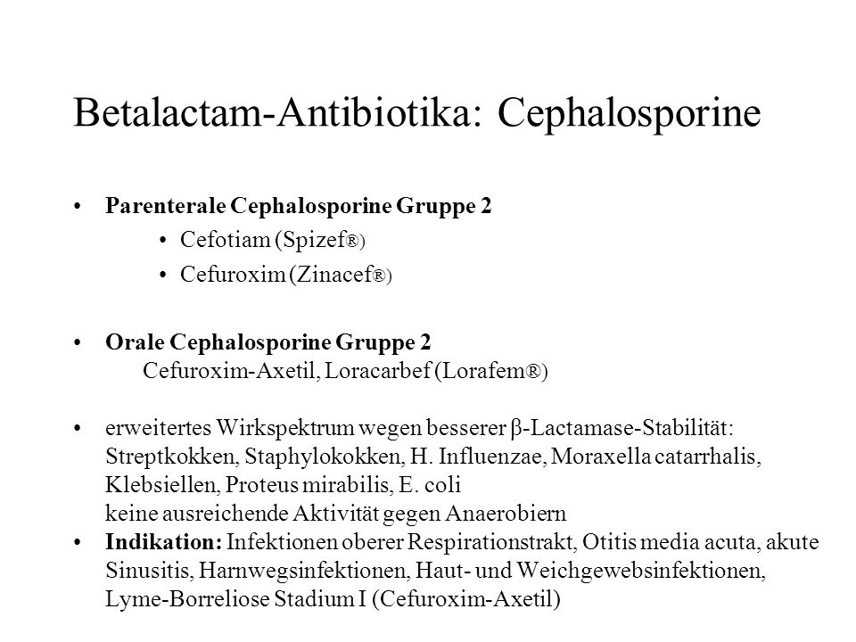 Betalactam-Antibiotika: Cephalosporine