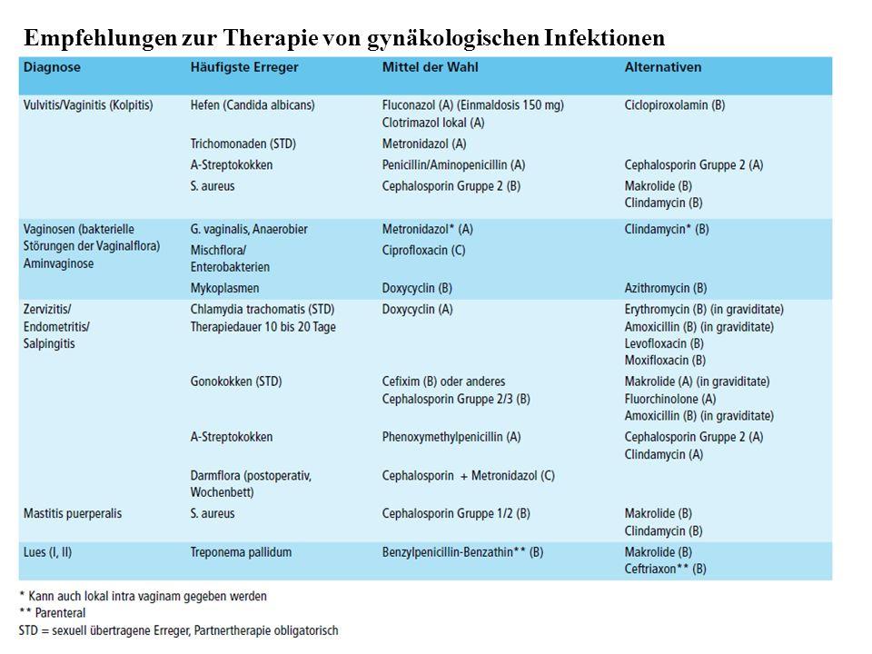 Empfehlungen zur Therapie von gynäkologischen Infektionen