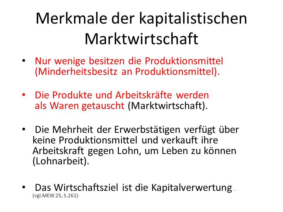 Merkmale der kapitalistischen Marktwirtschaft