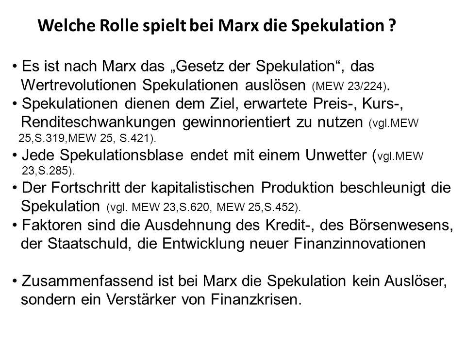 Welche Rolle spielt bei Marx die Spekulation