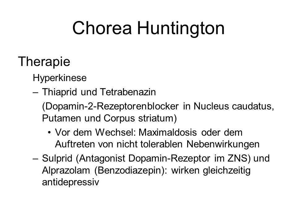 Chorea Huntington Therapie Hyperkinese Thiaprid und Tetrabenazin