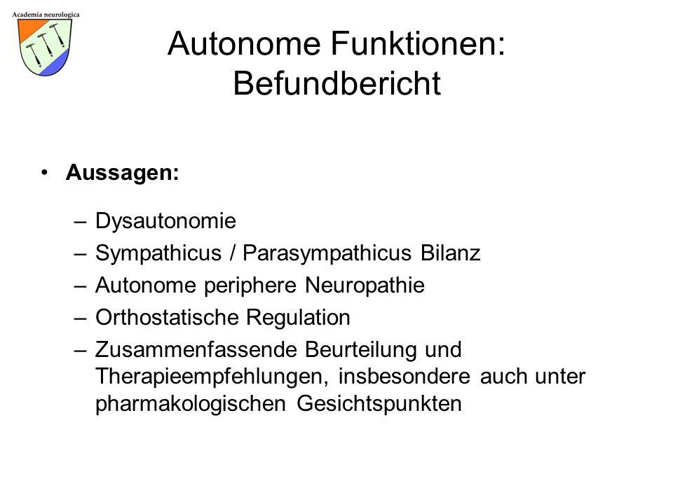 Autonome Funktionen: Befundbericht