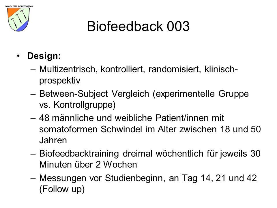 Biofeedback 003 Design: Multizentrisch, kontrolliert, randomisiert, klinisch-prospektiv.